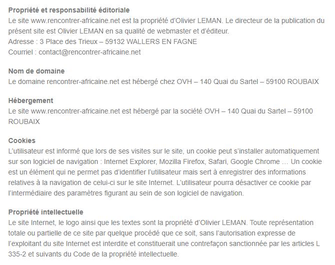 Mentions Légales du Site Rencontrer-Africaine